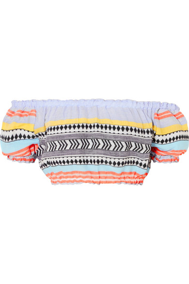LEMLEM Sofia Off-The-Shoulder Striped Cotton And Wool-Blend Gauze Top in Multicolour