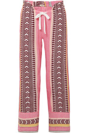 LemLem Luchia embroidered striped cotton-blend gauze pants
