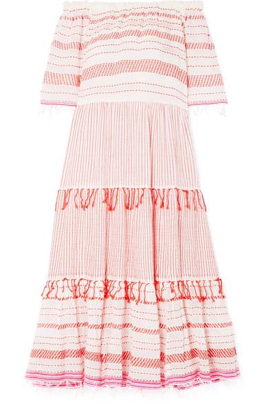 Tiki Fringed Embroidered Cotton-blend Gauze Dress - x small Lemlem mQMCJ3