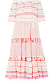 Tiki off-the-shoulder embroidered cotton-blend gauze midi dress