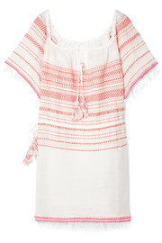 Tiki fringed embroidered cotton-blend gauze dress