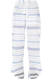 LemLem Tiki Fly Away embroidered cotton-blend gauze pants