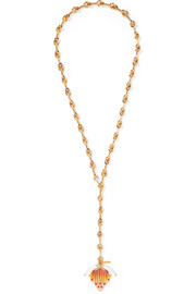 Chloé Gold-tone, enamel and resin necklace