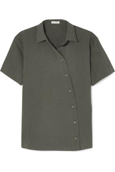 TOMAS MAIER Cotton-Blend Poplin Shirt in Gray Green