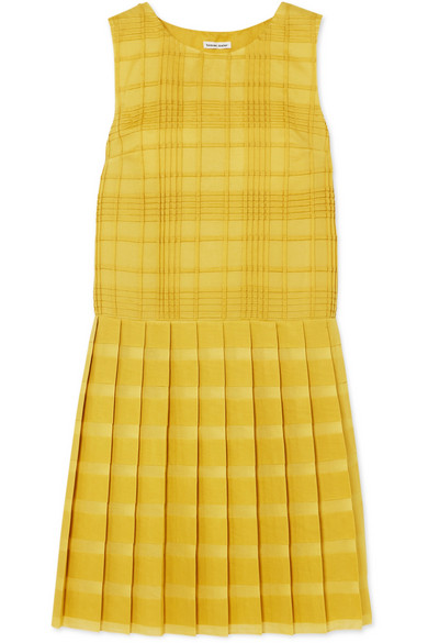 Tomas Maier PLEATED CHECKED COTTON-VOILE DRESS