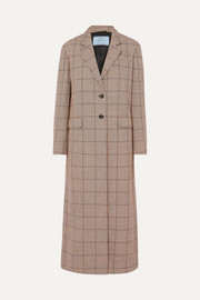 Prada Houndstooth wool-blend tweed coat