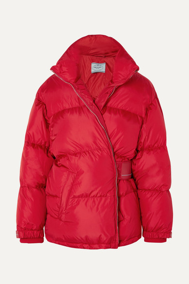 Prada - Cropped Quilted Shell Down Jacket - Red