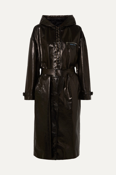 HOODED PATENT-LEATHER TRENCH COAT