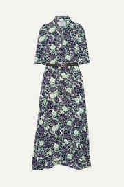 Prada Asymmetric floral-print stretch-silk midi dress
