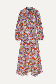 Prada Lace-trimmed shirred floral-print silk-crepe midi dress