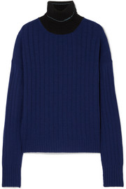 Prada Two-tone ribbed cashmere turtleneck sweater
