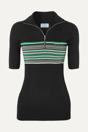 Prada Striped ribbed silk top
