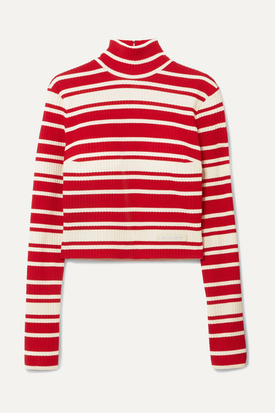 Striped Ribbed Knit Turtleneck Sweater by Prada