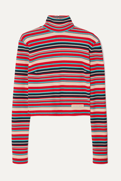 Striped Ribbed-Knit Sweater, Red