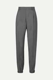 Appliquéd wool and mohair-blend straight-leg pants