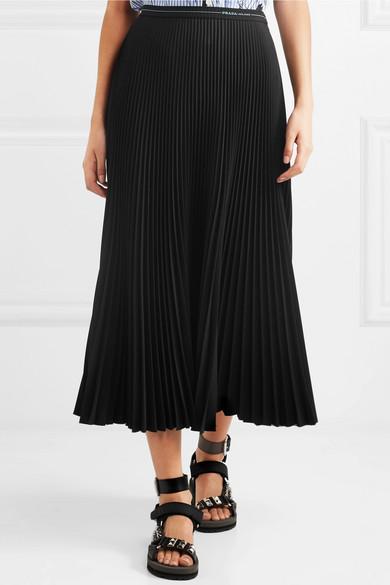Pleated Twill Midi Skirt by Prada