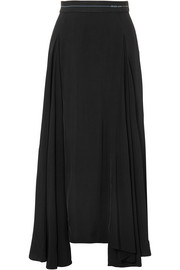 Prada Asymmetric pleated satin midi skirt