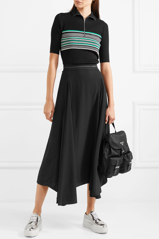 Prada Asymmetric pleated satin midi skirt