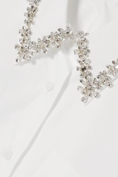 Prada Shirts Oversized crystal-embellished cotton-poplin shirt
