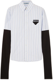 Prada Jersey-trimmed striped cotton-poplin shirt