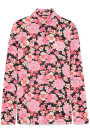 Prada Floral-print silk-blend georgette turtleneck top