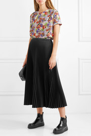 Pleated floral-print silk crepe de chine top
