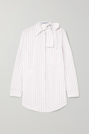 Prada Pussy-bow striped cotton-poplin shirt