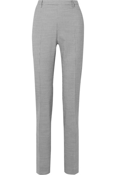 TOMAS MAIER Pepita Houndstooth Stretch Wool And Cotton-Blend Slim-Leg Pants in Gray