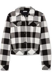 Tomas Maier Cropped checked cotton-twill jacket