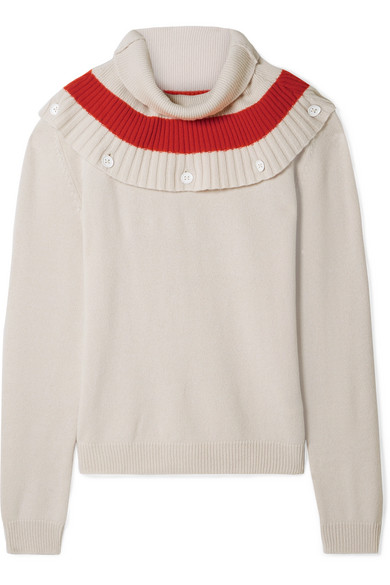 TOMAS MAIER Convertible Striped Cashmere Sweater in Cream