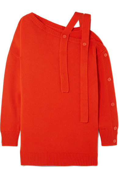 TOMAS MAIER One-Shoulder Cashmere Sweater in Papaya