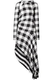 Asymmetric gingham crepe de chine midi dress