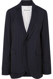 Monse Layered pinstriped grain de poudre wool blazer