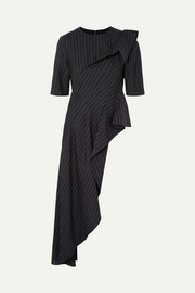 Monse Asymmetric pinstriped wool-crepe top