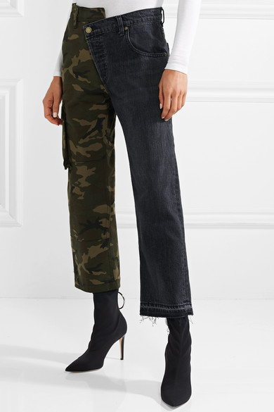 Paneled Mid Rise Straight Leg Jeans by Monse