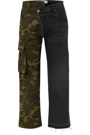 Monse Paneled mid-rise straight-leg jeans