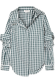 Asymmetric gingham cotton-poplin shirt