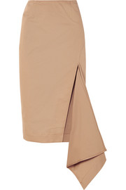 Asymmetric cotton-blend gabardine skirt