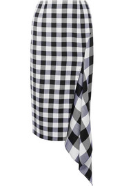 Asymmetric gingham wool and cotton-blend midi skirt