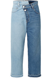 Two-tone distressed mid-rise straight-leg jeans