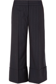 Monse Cropped pinstriped wool-crepe wide-leg pants