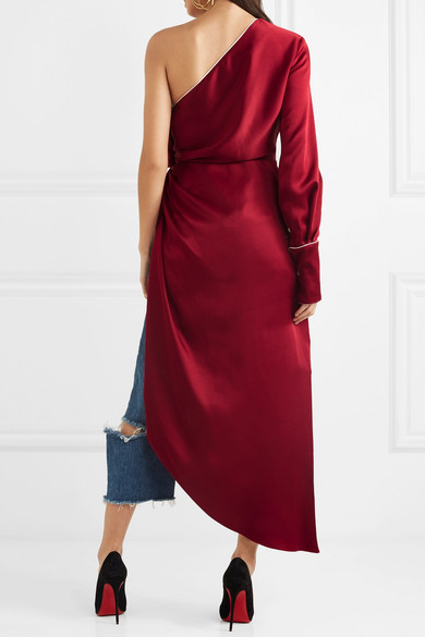 One-shoulder Satin Gown - Crimson Monse Enjoy Cheap Price wQ975HkgU