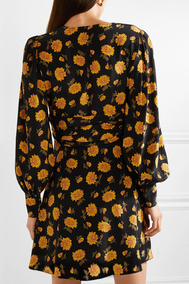 VERONICA BEARD Marion Long-Sleeve Floral Mini Dress Floral Print Silk NEW
