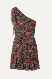 Veronica Beard Ballard one-shoulder ruffled floral-print silk-chiffon mini dress