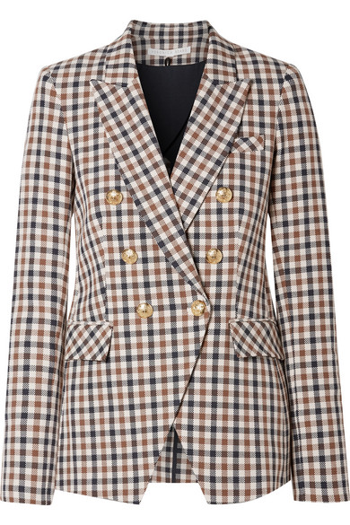 Lonny Double-Breasted Check Dickey Jacket, Brown/ Navy