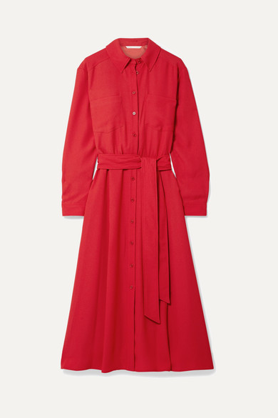 Veronica Beard - Cary Belted Crepe Midi Dress - Red