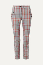 Farrow checked cotton-blend slim-leg pants