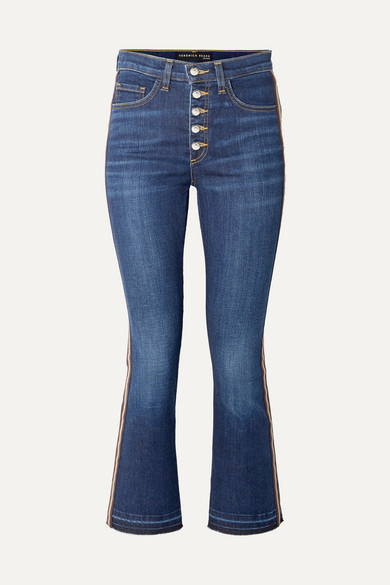 Carolyn Cropped Grosgrain-Trimmed High-Rise Bootcut Jeans, Indigo
