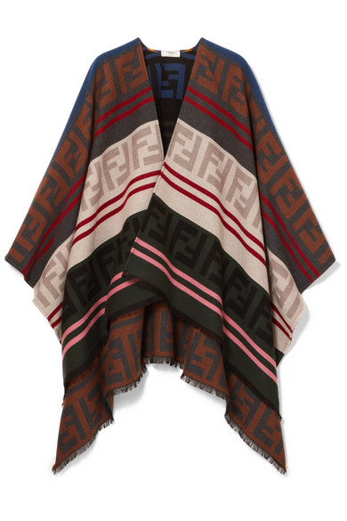 Fendi   Poncho en jacquard de laine et de soie mélangées   NET-A ... 48390f1826e