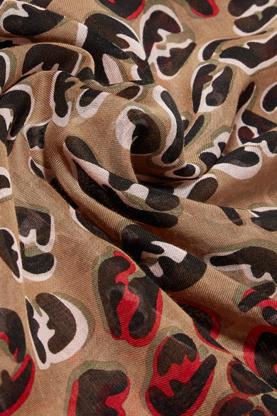 5d2aa5fa Fringed leopard-print modal and silk-blend voile scarf